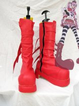 One Piece Cospla Perona Red Artificial Leather Cosplay Boots