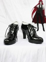 Black Butler Grell Sutcliff Shiny Black Cosplay Anckle Boots