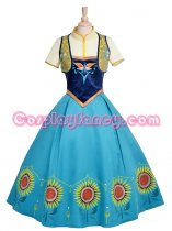 Frozen Princess Anna Formal Dress Cosplay Costume